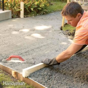 Concrete Forms And Pouring A Concrete Slab The Family Handyman