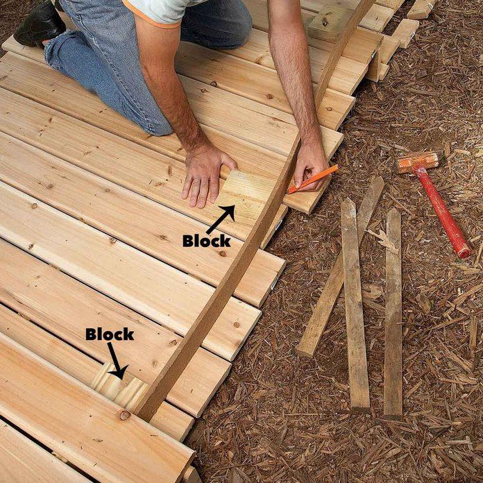 mark boardwalk curves for cutting