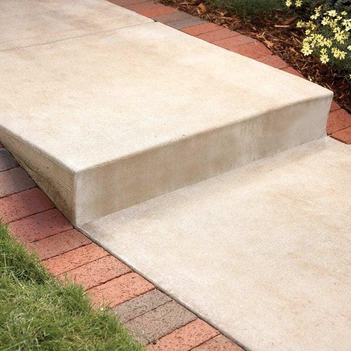 brick pavers along step