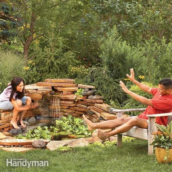 Build a backyard waterfall in one weekend family handyman for Making a pond in your backyard
