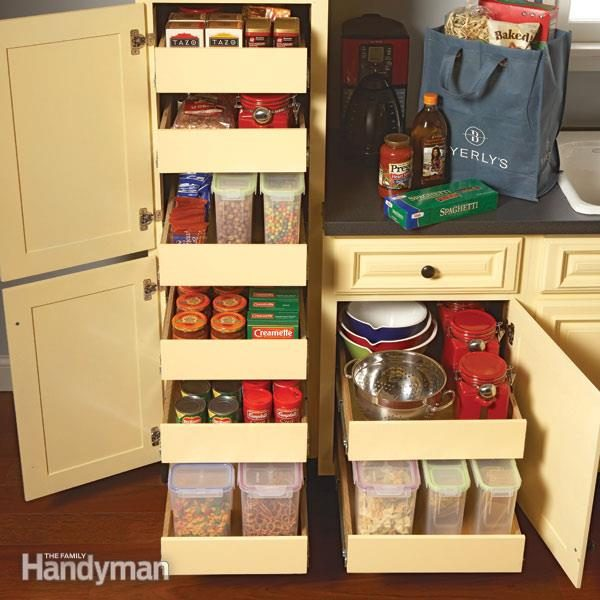 Kitchen storage cabinet rollouts the family handyman Kitchen under cabinet storage ideas