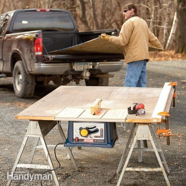 How to use a table saw ripping boards safely family handyman how to build a portable table saw table greentooth Choice Image