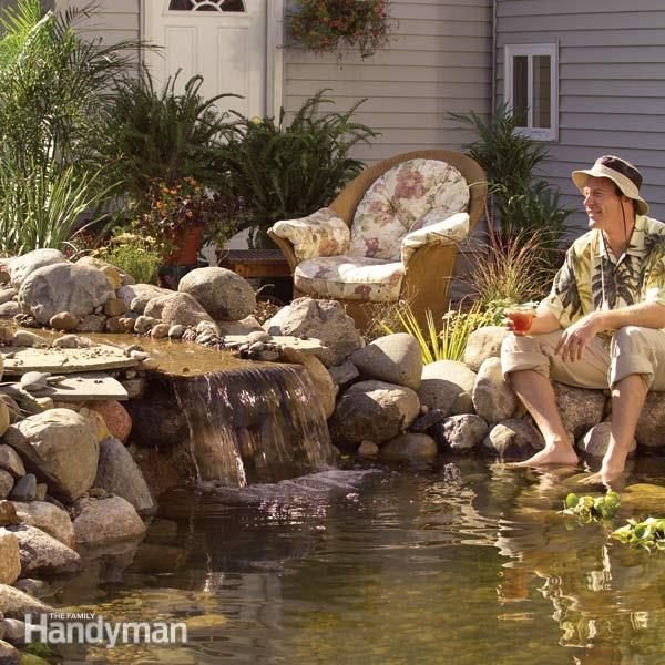 Pond how to build a low maintenance pond family handyman for Outdoor fish pond care