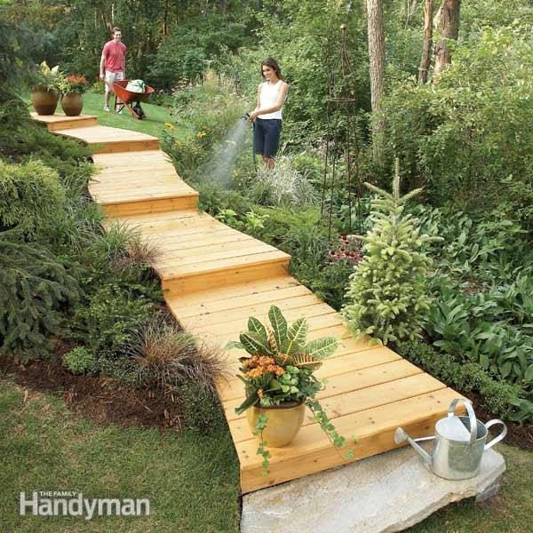 How to Build a Wooden Boardwalk | The Family Handyman Rustic Wooded Backyard Ideas Family on patio ideas, virginia landscaping ideas, upcycled decorating ideas, azalea landscape ideas, formal dining room ideas, garden path ideas, full basement ideas, cement driveway ideas, large mudroom ideas, eco-friendly fence ideas, landscape property line ideas, fort building ideas, double oven ideas, homemade fort ideas, low maintenance fence ideas, recycled garden ideas, treehouse ideas, microwave ideas, courtyard fence ideas, updated kitchen ideas,