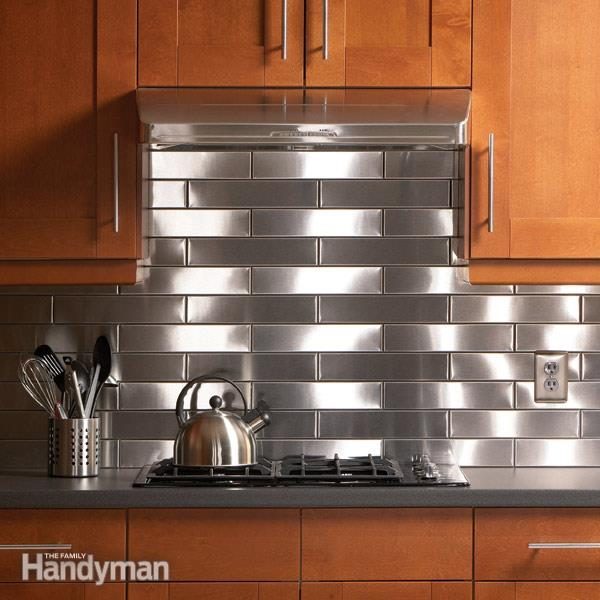 stainless steel subway tile backsplash