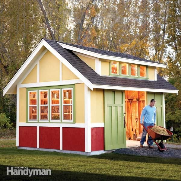 Shed plans storage shed plans the family handyman for Garden shed pictures