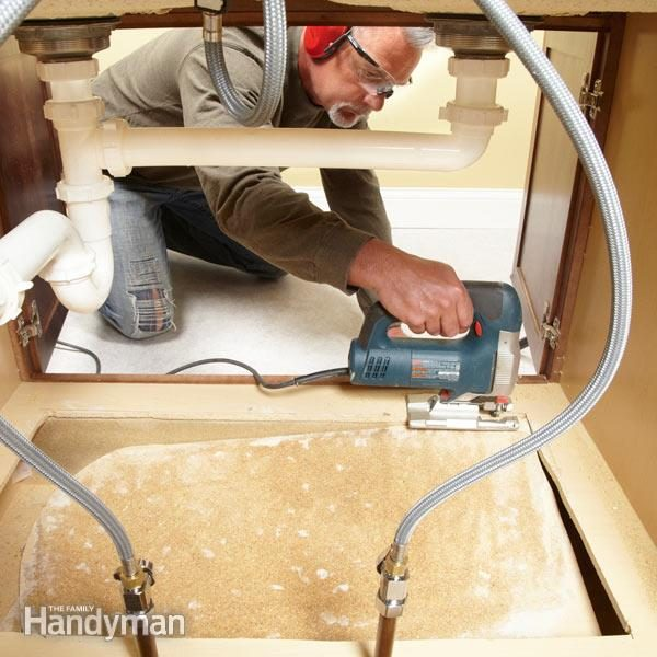 How to Replace a Sink Base Cabinet Floor | The Family Handyman