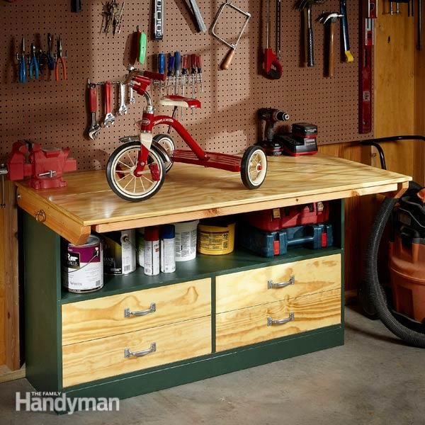 garage workbench units how to build a diy workbench super simple 50 bench family handyman