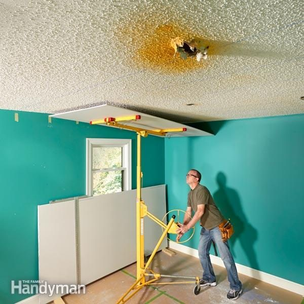 why remove popcorn ceiling when you can cover it with drywall the family handyman. Black Bedroom Furniture Sets. Home Design Ideas