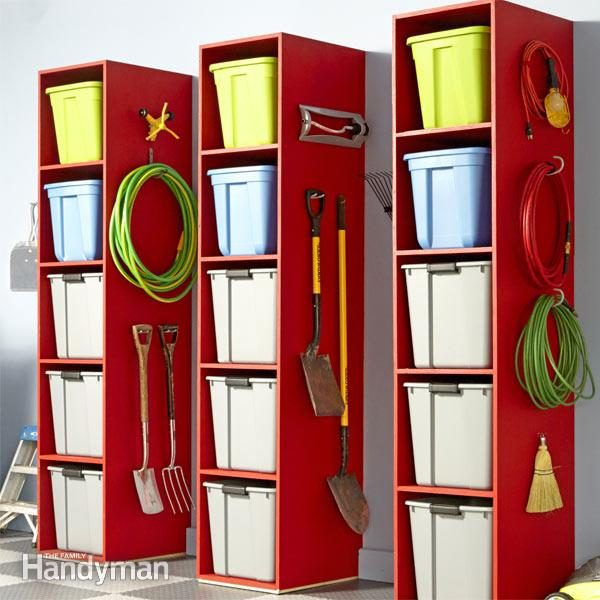Tons of easy-access storageu2014and more space to hang stuff! & Garage Storage Tower | The Family Handyman
