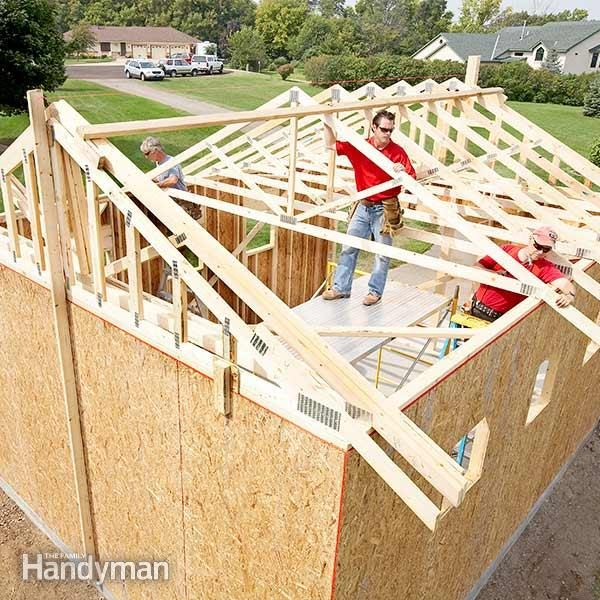 How to build a garage framing a garage the family handyman for Price my house free online
