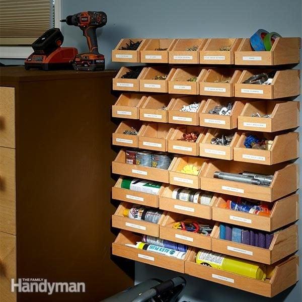 Garage shelving plans hardware organizer family handyman for Handyman plans