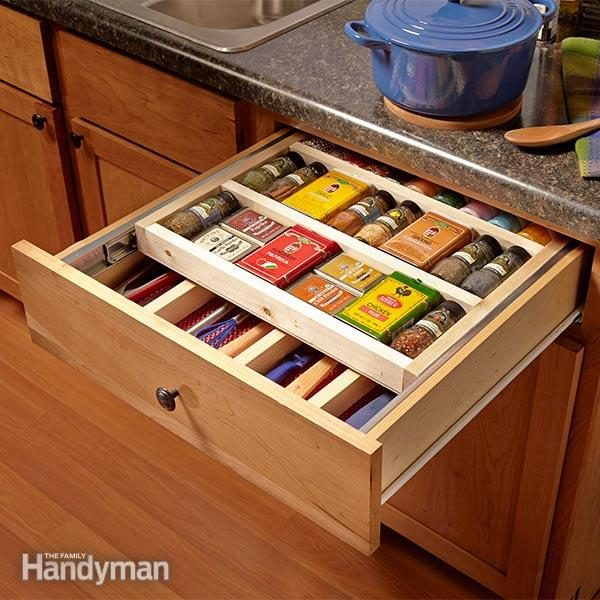 tiered spice racks for kitchen cabinets two tier drawer spice rack the family handyman 9463