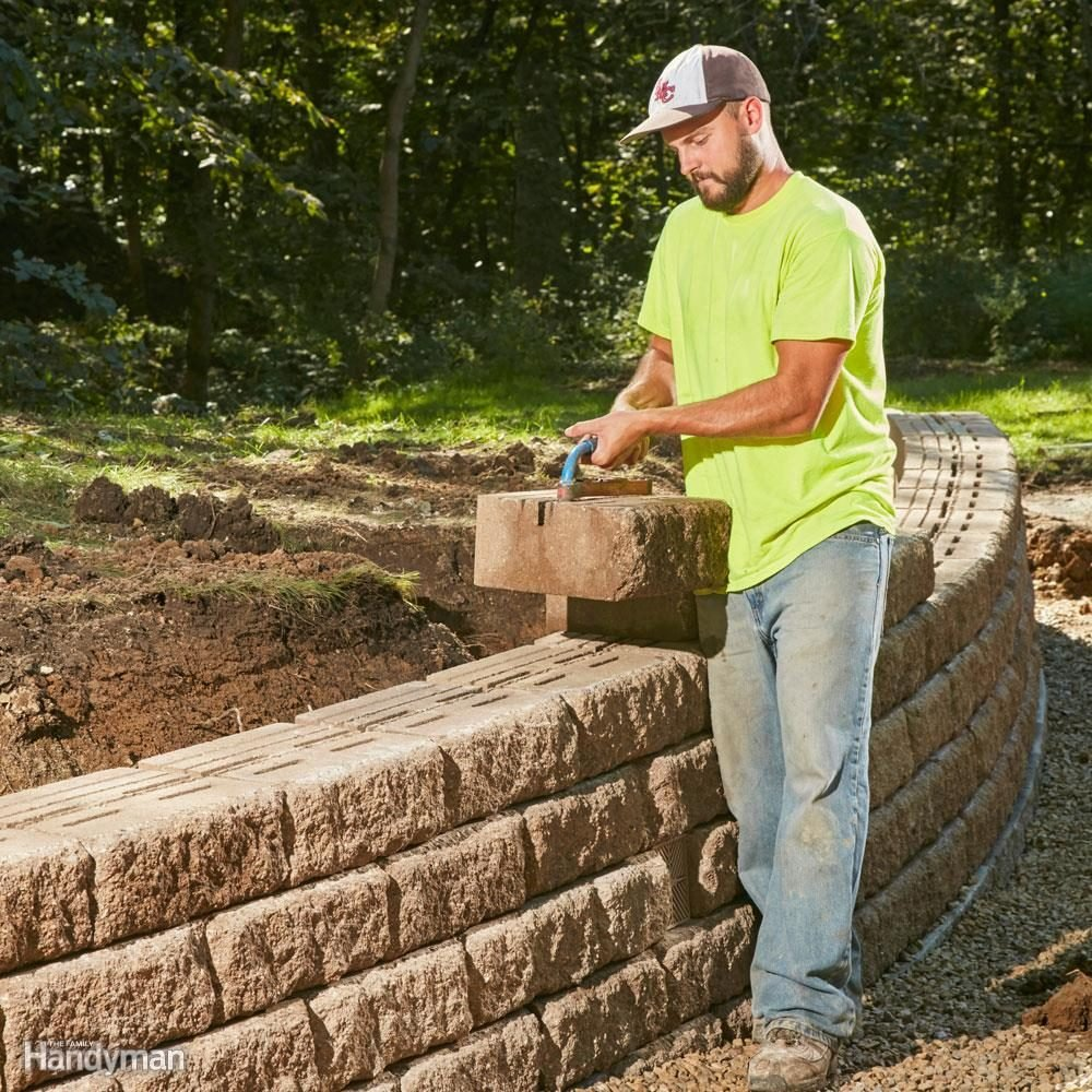 Build A Long Lasting Block Retaining Wall Family Handyman