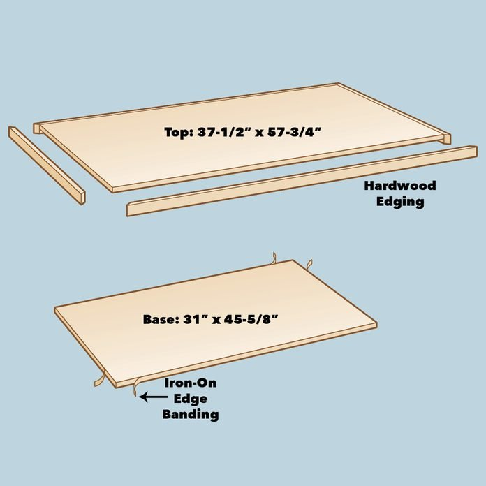 make top and bottom of craft room storage table