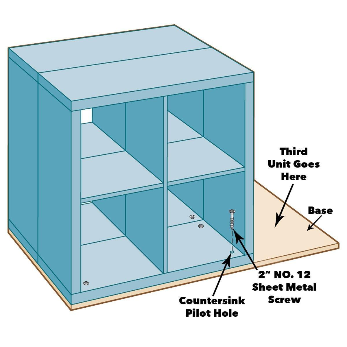 fasten ikea kallax units to base