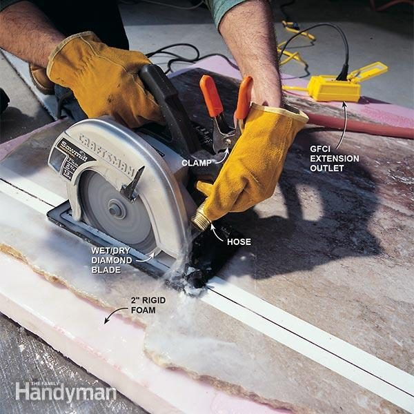 How to cut marble the family handyman a circular saw and a garden hose is all you need to cut your marble slab greentooth Image collections