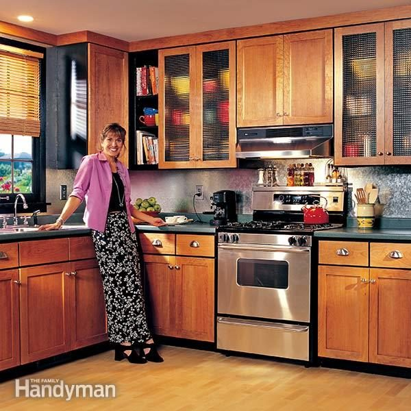 How to refinish kitchen cabinets family handyman for Making old kitchen cabinets look modern