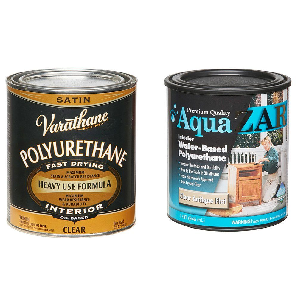 Two cans of stain with different bases | Construction Pro Tips