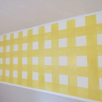 yellow gingham wall