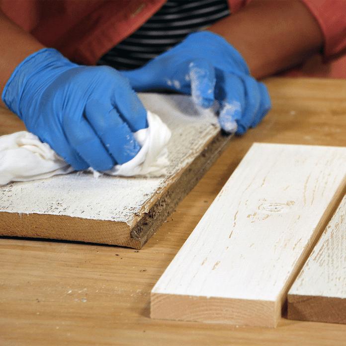whitewash wood with scraper and rag