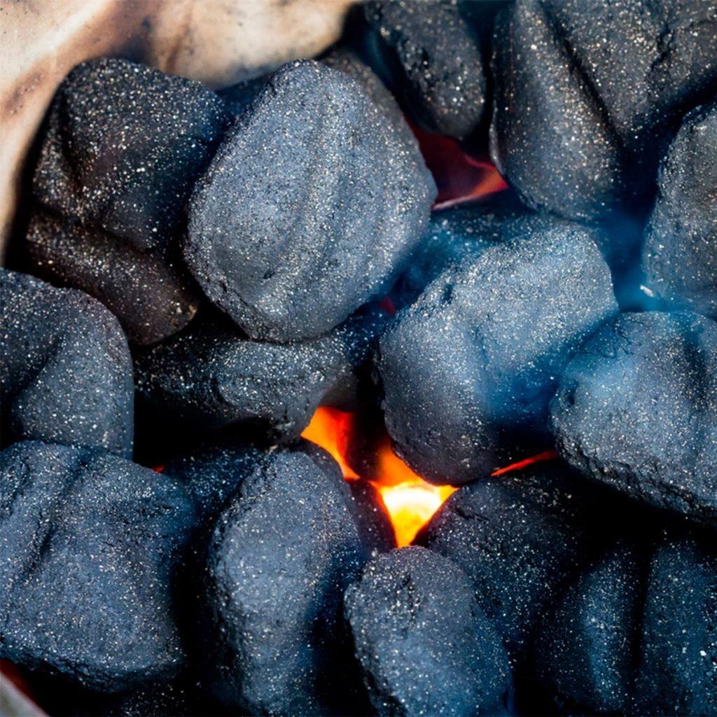 lit black charcoal