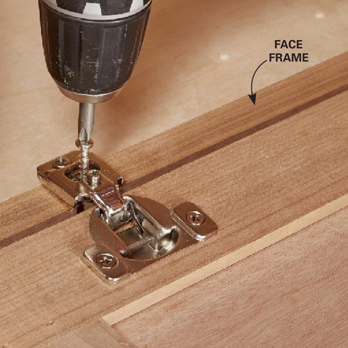 5. Face frame: Fasten the hinge