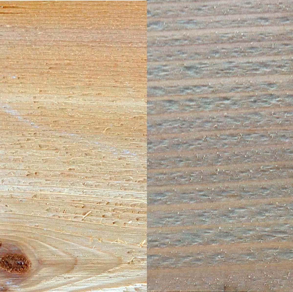 Before and after: cedar and Minwax Weathered Oak