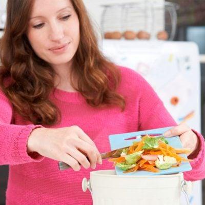 chopping vegetables countertop compost bin