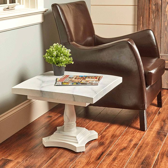 faux marble table living room leather chair