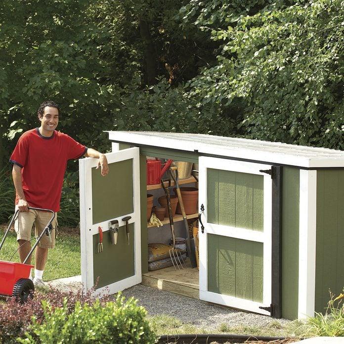 DIY garden shed tool storage