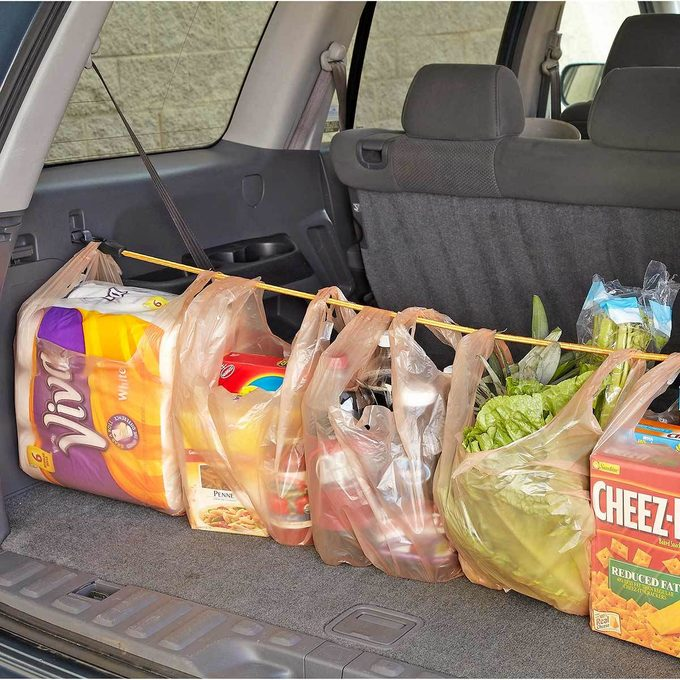 No-spill grocery bags bungee cord