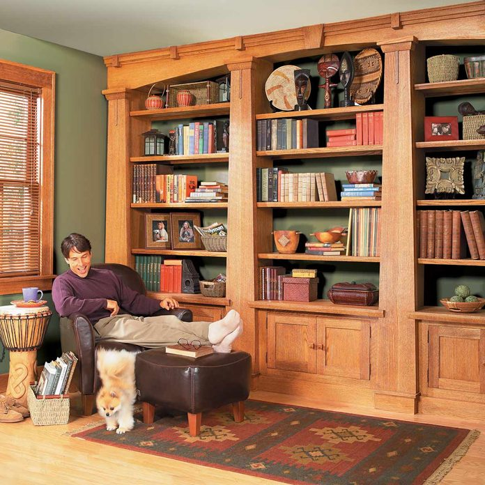 Built-in Mission Oak bookcase