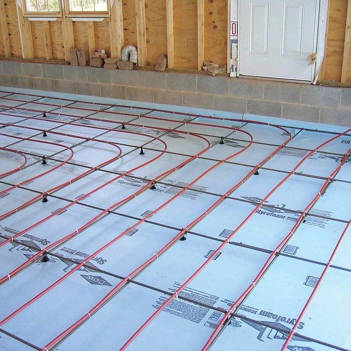 garage with in floor heat heated floors