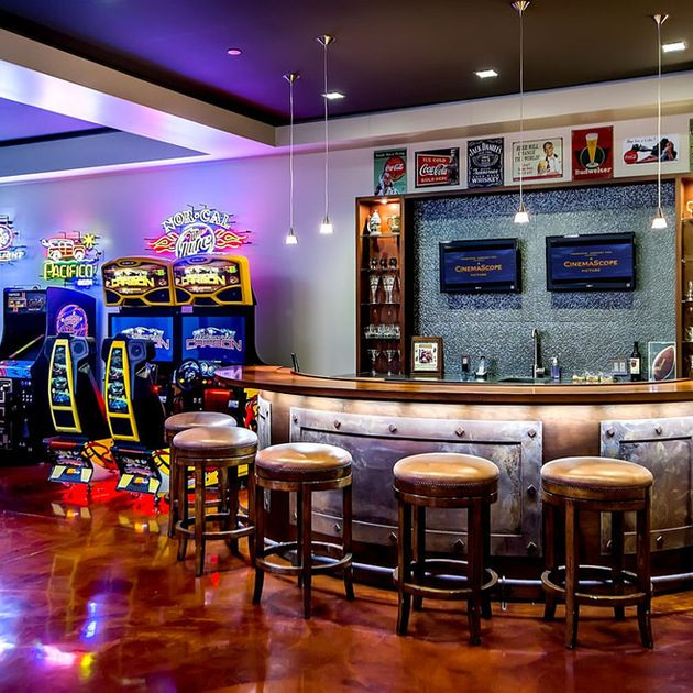 Man cave bar and arcade games