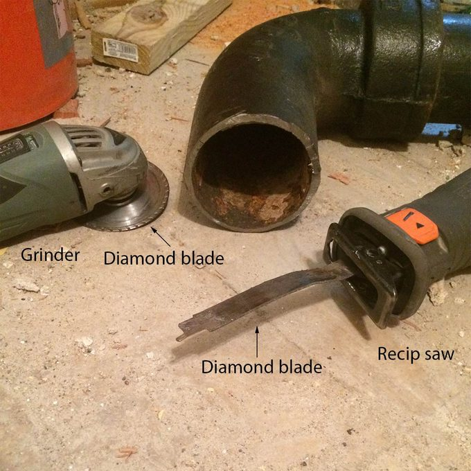 cutting cast iron pipe recip saw and grinder