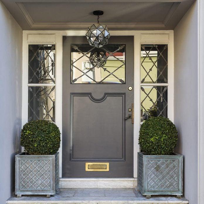 gray grey front door lead pane glass windows glass exterior light