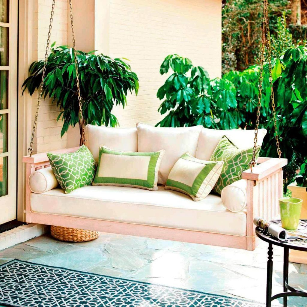 Houseplants front porch swing