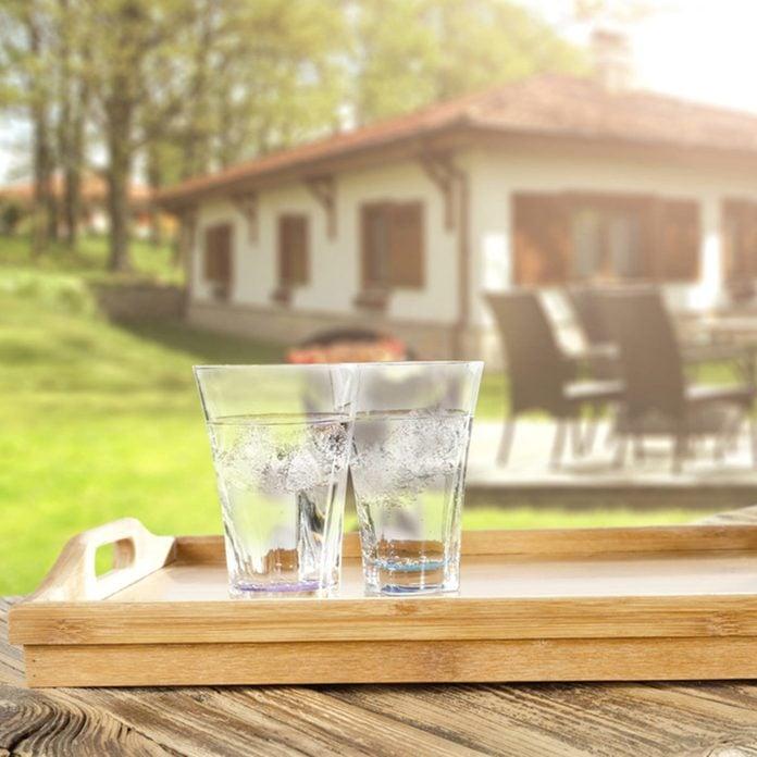 glasses on patio deck