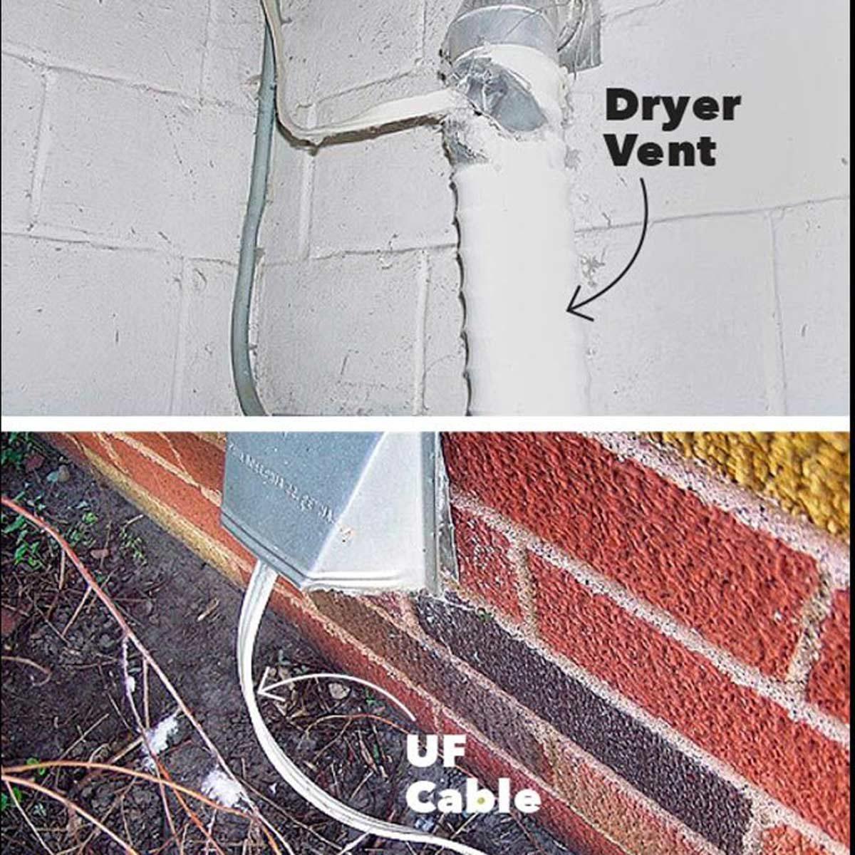Dryer vent as conduit—brilliant!