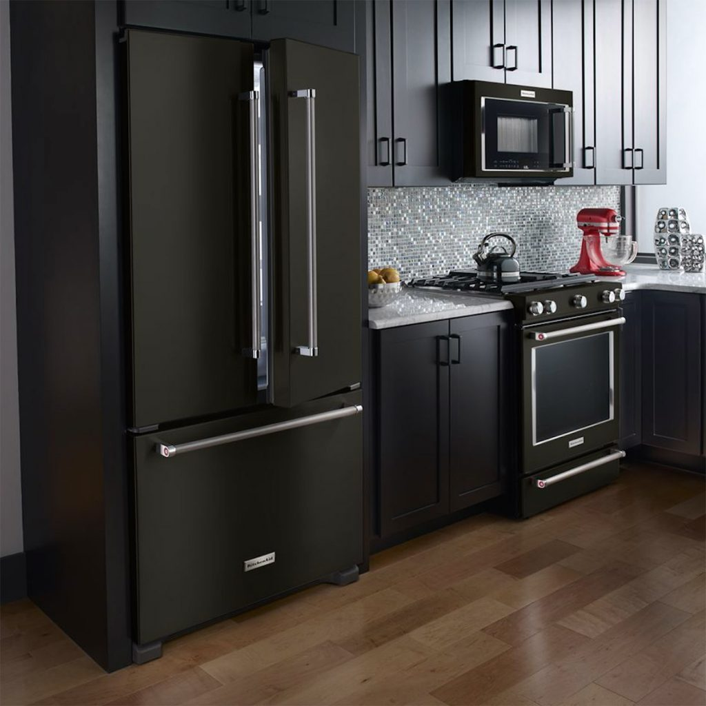 kitchenaid black stainless steel appliances in kitchen