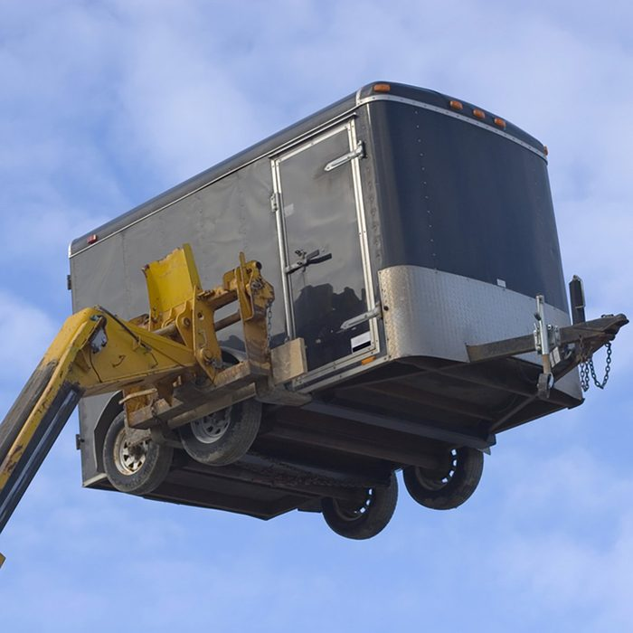 A trailer on a fork lift | Construction Pro Tips