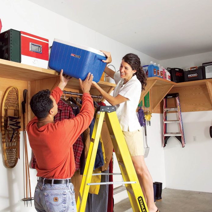 high garage shelf storage organization rotating stuff