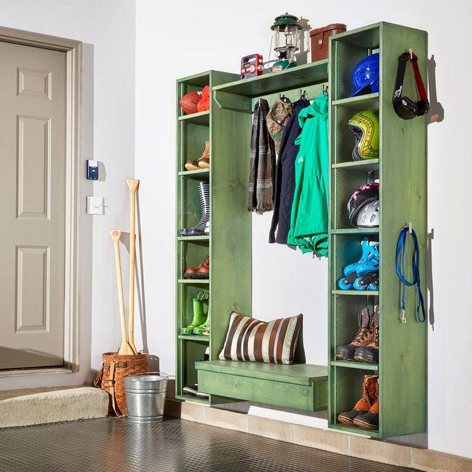 green garage storage organizer