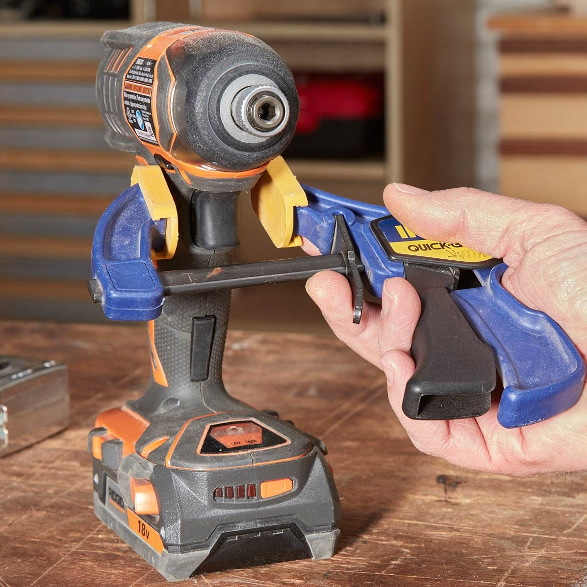 drill measure with a clamp