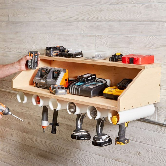 drill dock garage organization storage