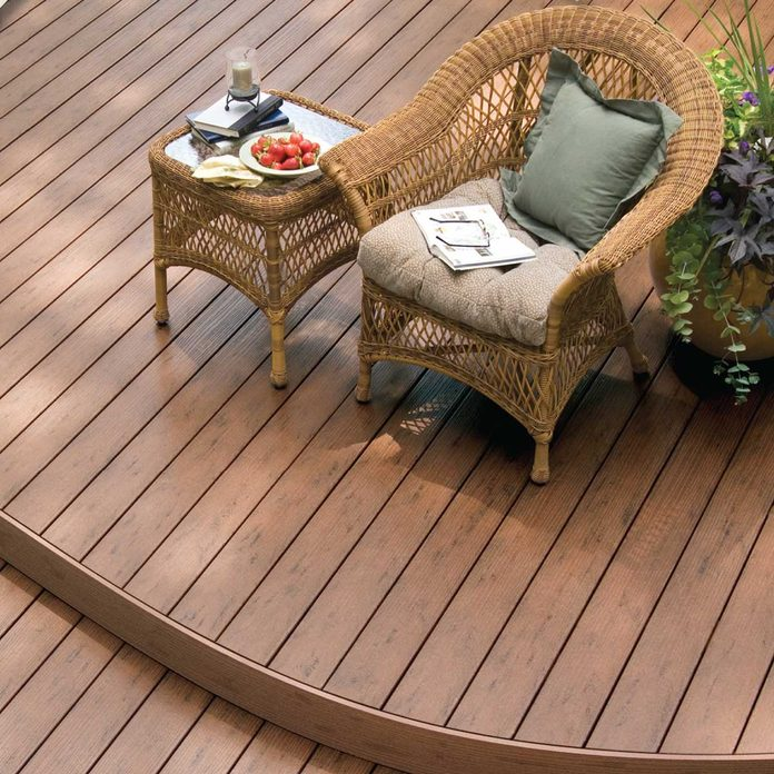 composite deck wood with curved corners