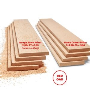 Rough sawn oak cost vs planed wood lumber