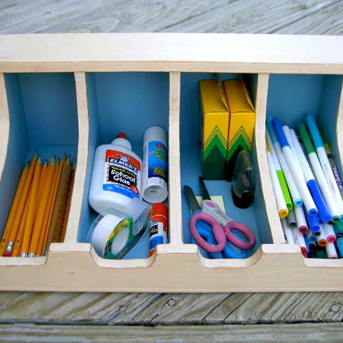 How to be Organized for School: Serve Up School Supplies in a Silverware Tray