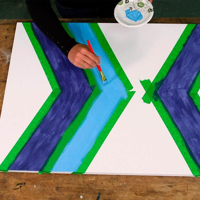 wall art paint between tape
